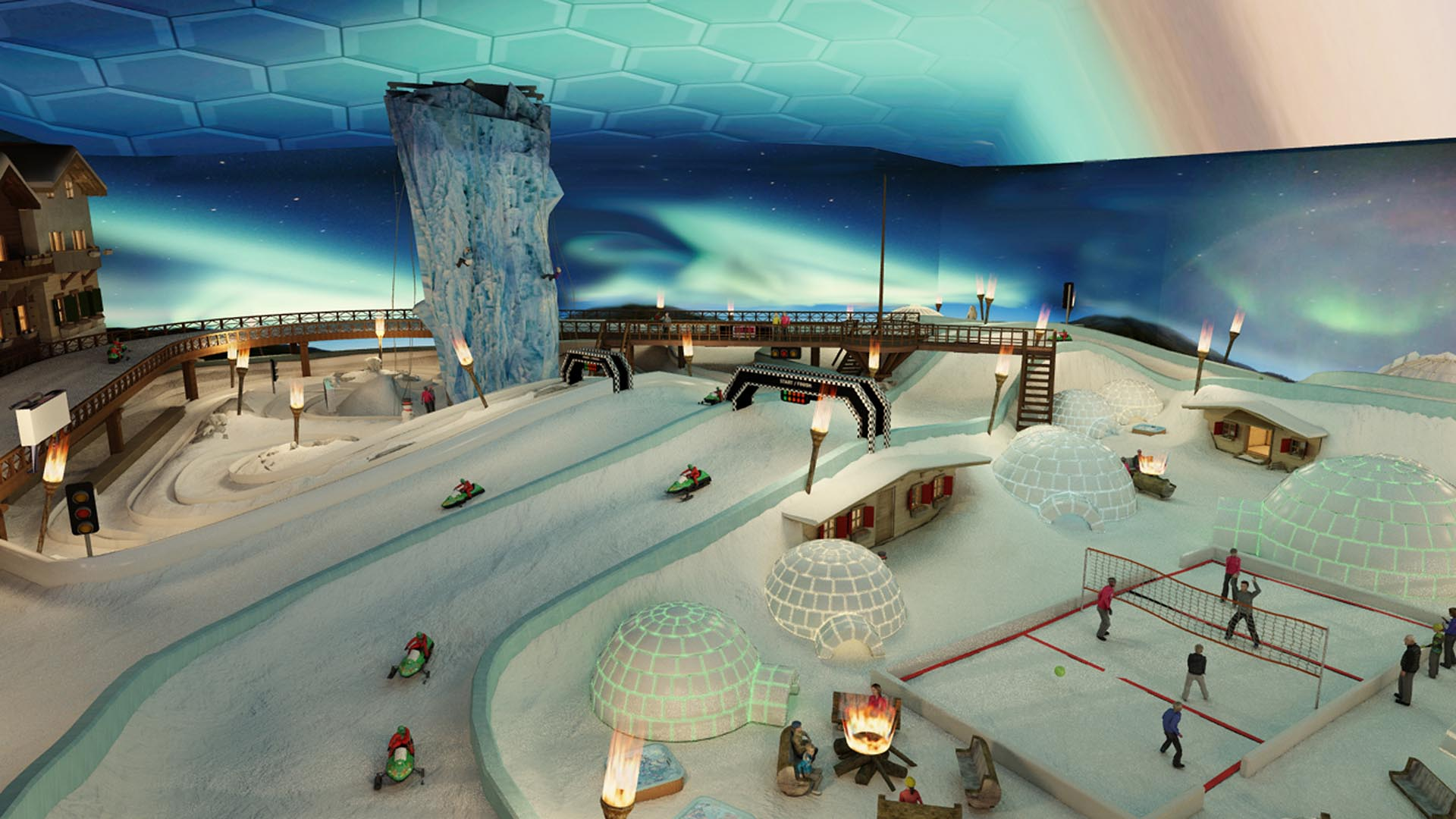 An Exciting Patented Indoor Snow Circuit and Igloo Village